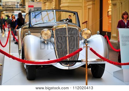 German Car Horch 853 Exhibited In Gym In Moscow, Russia.