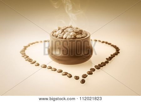 Hot Coffee Beans In Cup