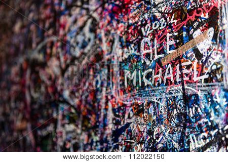 The Wall Full Of Messages, Verona, Italy.
