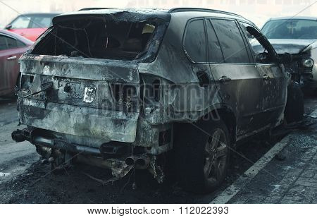 Accident Or Arson Burnt Car On The Road