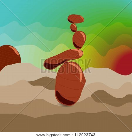 Zen Stones At Sunrise, Surrealism.