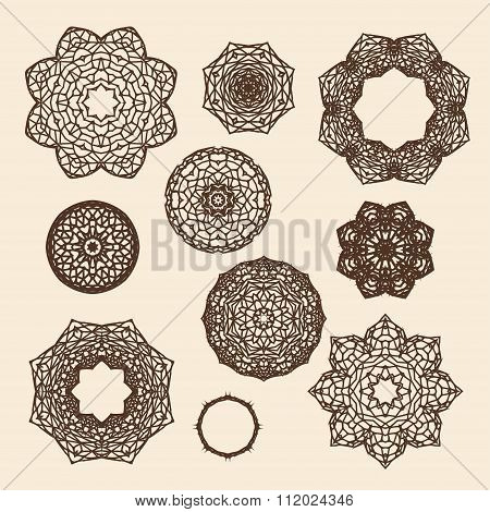 Set Of Vintage Gothic Circle Ornament Roses With Thorns In Vector