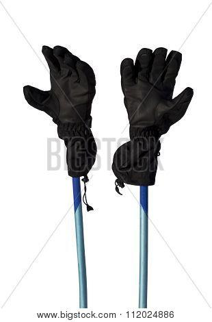 Winter Sport Gloves On Ski Poles