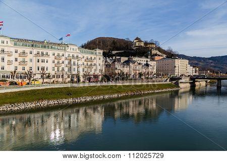 Buildings Along The River Salzach In Salzburg