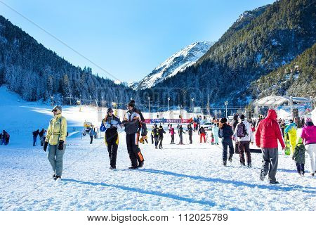 Ski resort Bansko, Bulgaria, people, mountains view, ski lifts