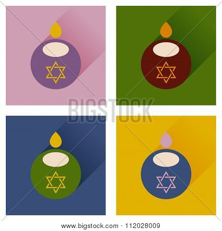 Concept of flat icons with long shadow Jewish candle