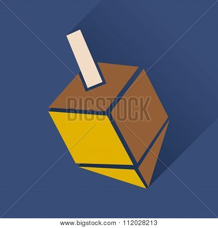 Flat icon with long shadow Chanukah dreidel