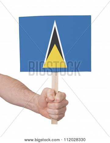 Hand Holding Small Card - Flag Of Saint Lucia