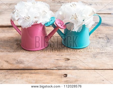 White Bouquet In Pink And Blue Flowerpots