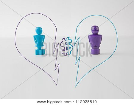 Concept Of Money Standing In A Way Of Relationship