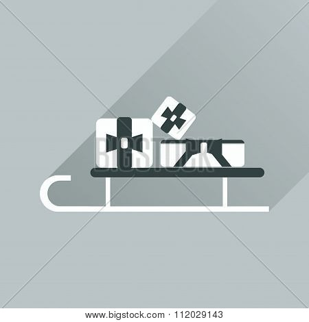 Flat web icon with long shadow presents on sledge