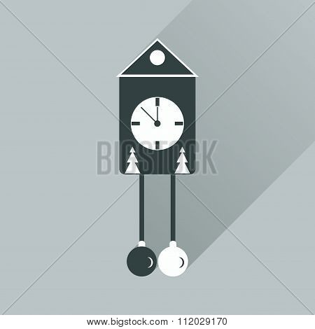 Flat web icon with long shadow Christmas clock