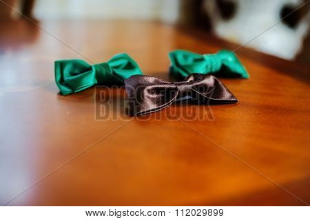 Green And Brown Bow Ties