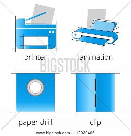 Printing shop services blue icons set. Part 6