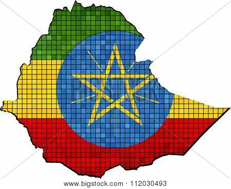 Ethiopia Map With Flag Inside.eps