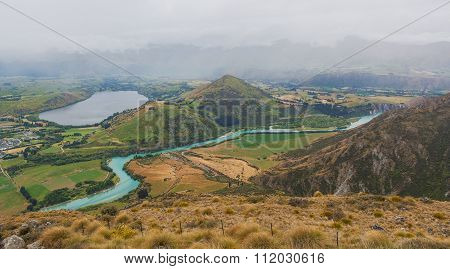 Lake Hayes And Kawarau River Viewed From The Remarkables Ski Area, Otago, New Zealand.