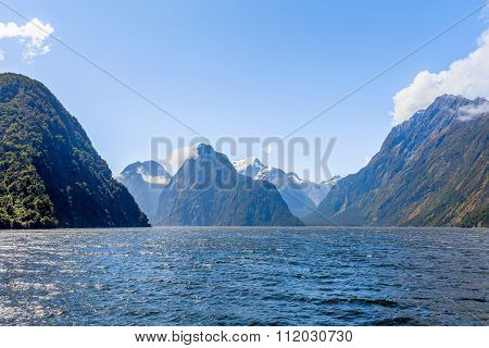 Majestic Snow Capped Peaks Of Milford Sound, Fiordland, New Zealand