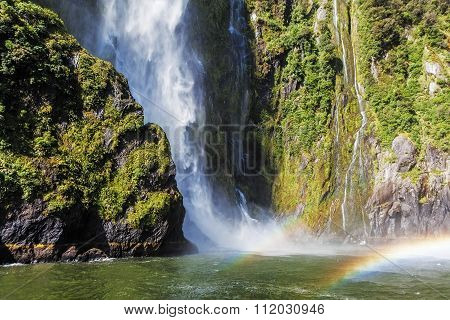 Incredible Stirling Falls With Double Rainbow, Milford Sound, Fiordland, New Zealand