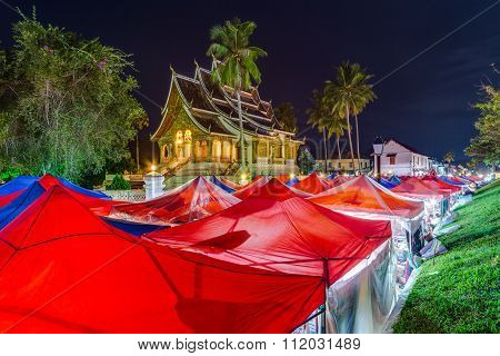 Tents Of Night Market And Royal Palace In Luang Prabang,  Laos