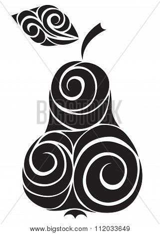 Hand-drawn Decorative Silhouette Of A Pear