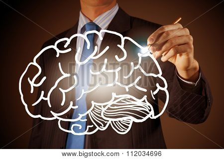 Chest view of businessman drawing mind concept on screen