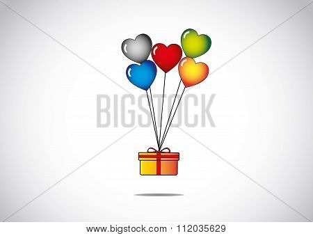 Orange Surprise Package Gift Flying Tied To Colorful Blue Red Yellow Black And Green Shiny Heart