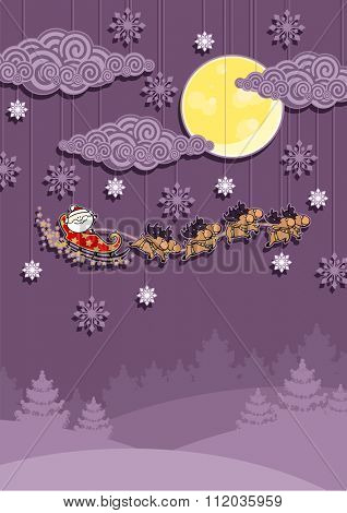 Christmas card with Santa Claus in his sledge over the night winter forest (raster version)