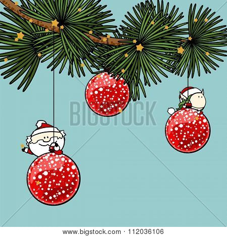 Branch of a decorated Christmas tree with cute tiny Santa Claus and fairy girl (raster version)