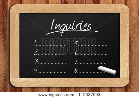 Chalkboard On The Wooden Table Written Inquiries List
