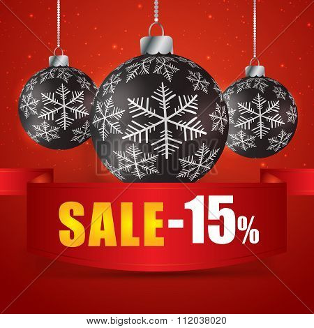 Winter Sale 15  Percent. Winter Sale With Red Background. Sale. Winter Sale. Christmas Sale. New Yea