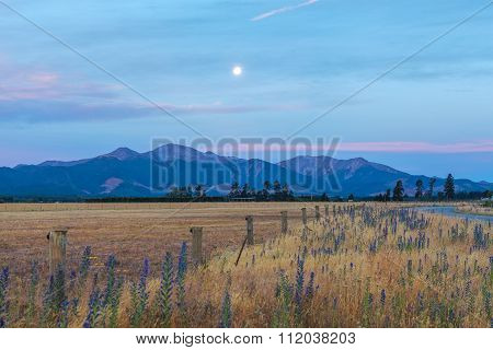 Moonrise Over Canterbury Hills And Farmland, New Zealand