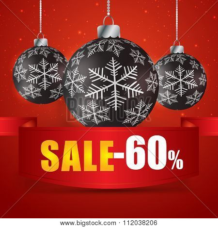 Winter Sale 60 Percent. Winter Sale With Red Background. Sale. Winter Sale. Christmas Sale. New Year