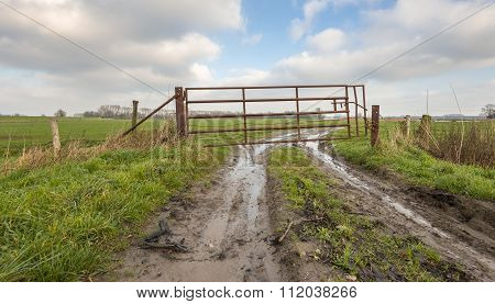 Rusty Gate In Muddy Farmland