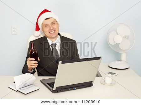 Businessman Gets Drunk At Office Before New Year
