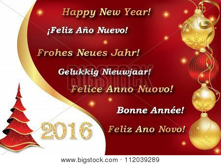 Happy New Year 2016 in many languages