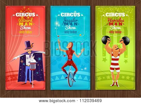 Travelling circus show flat banners set