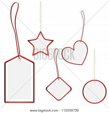 Collection Of Hanging Price Tags With Red Border