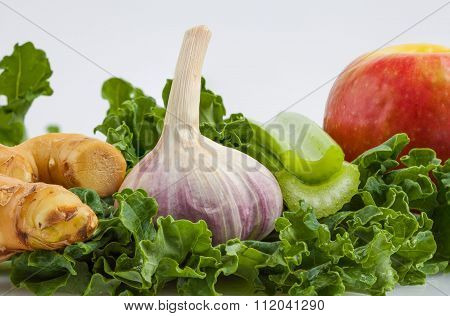 Ingredients For Kale Shake On White Background