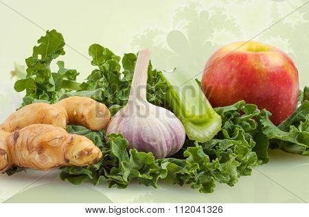 Ingredients For Kale Shake On Floral Background
