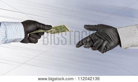 Hands In Gloves Exchange One American Dollar