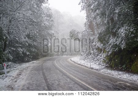 Slippery And Icy Winding Mountain Road Under Heavy Snowfall, Australia
