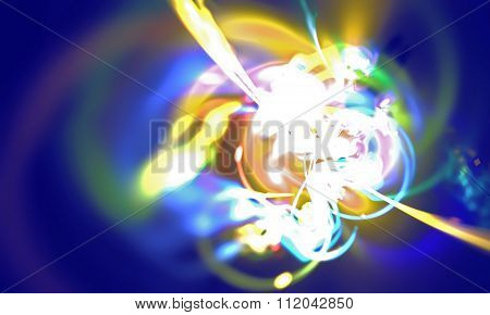 Abstract blurred scene depicting an astronomical nebula magnetic storm on an unstable yellow superno