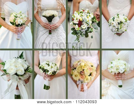 Collage Of Wedding Bouquets Of White Roses In Bride's Hands