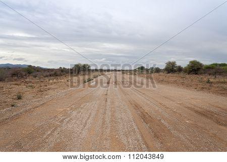 Moisture Namibian gravel road
