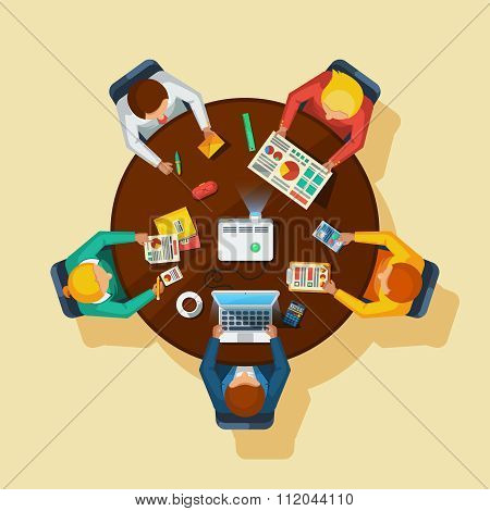 Business Meeting Top View Flat Poster