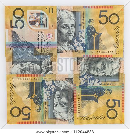 Four 50 Australian Dollar Bills In A Square Arrangement