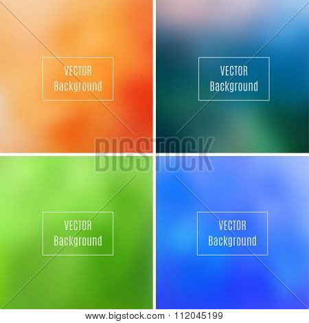 Set Of Abstract Blurred Defocused Backgrounds, Orange, Blue, Dark Green And Light Green Colored, In