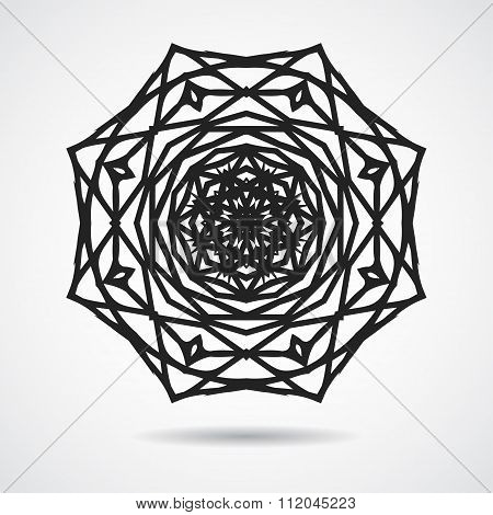 Circle Ornament - Gothic Rose Window, Isolated Black On White, In Vector