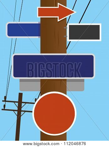 Telephone Pole Street Signs