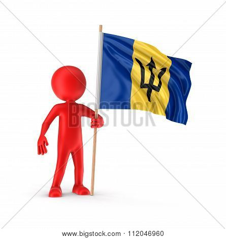 Man and Barbados flag. Image with clipping path